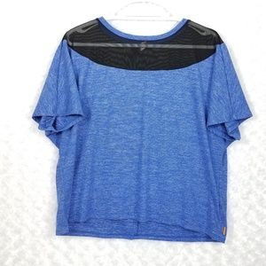 NWOT Lucy Blue Top with Mesh Detail